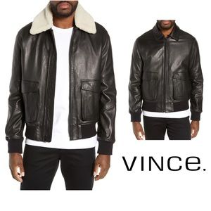 VINCE Leather Jacket Removable Shearling Collar L